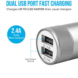 AMBRANE ACC-74-M2.4A DUAL PORT CAR CHARGER FOR ALL SMARTPHONES+ FREE MICRO USB CABLE (BLACK& SILVER)