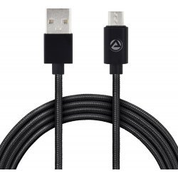 ARU Cotton Braided 1m 1 m Micro USB Cable   (Compatible with MOBILE TV TABLET, Black)