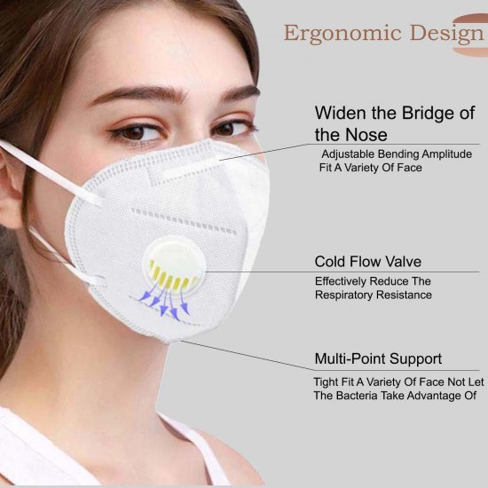 N-95  Anti Pollution Protection face Mask Respirator with Nosepin - Active Carbon Air filter 5 layer(Pack of 50)