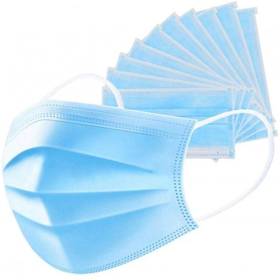 (50 Piece) Surgical Mask With Melt Blown Fabric Layer   (Free Size, Pack of 50, 3 Ply)