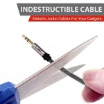 Boat Indestructible 3.5mm Male to Male Gold Plated Connectors, Metallic Aux Audio Cable, 1.5 Meter (5 Feet) (Silver Metallic)