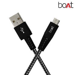 boAt Rugged v3 Extra Tough Unbreakable Braided Micro USB Cable 1.5 Meter (Black)