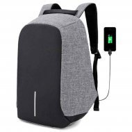 Anti-Theft Smart Waterproof Grey Laptop Backpack with USB Plug Charging Port