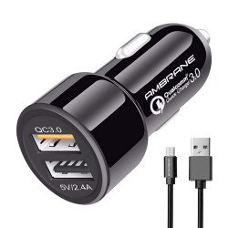 Ambrane ACC-11QC-M Dual Port Car Charger (Black)