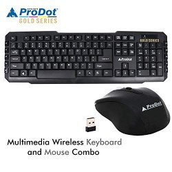 Prodot (Gold Series) TLC-107+145 (Wireless) Wireless Multimedia Keyboard and Mouse Combo (Color: Solid Black)