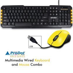 Prodot (Gold Series) TRC-107+ 213 USB (Wired) Multimedia Keyboard and Mouse Combo (Color: Mash Yellow)