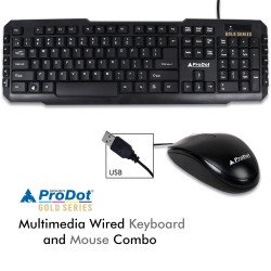 Prodot (Gold Series) TRC-107+ 273 USB (Wired) Multimedia Keyboard and Mouse Combo (Color: Solid Black)