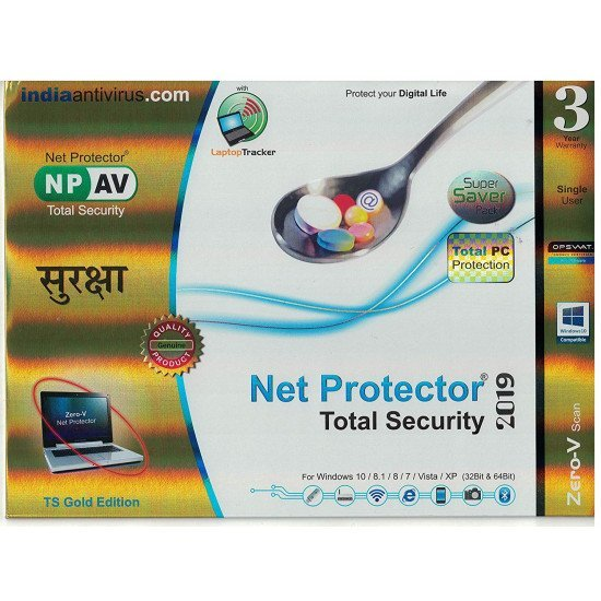 NPAV Net Protector Total Internet Security and PC Protection 2019, TS Gold  Edition- 1 PC, 3 Year (CD) Antivirus