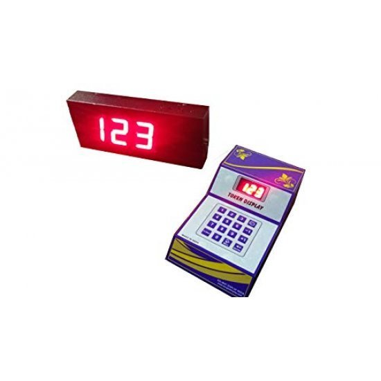 4 digits token display with bell 4 inch character size