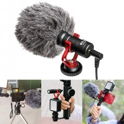 BOYA by-MM1 Universal Cardiod Shotgun Microphone Mini Mic for iOS iPhone 8 8 Plus 7 7 Plus 6 6s Mac iPad Tablet Canon Nikon DSLR Camera Camcorder