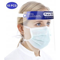 Face Shield Anti-Fog Splash Oil-Splash Proof Full Face Protect Shield Anti-UV Anti-Shock with Clear Film Elastic Band and Comfort Sponge