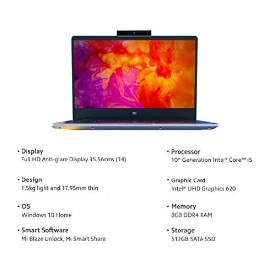 Mi Notebook 14 Intel Core i5 10th Gen (8GB/512GB SSD/Windows 10/Intel UHD Graphics/Silver/1.5Kg)