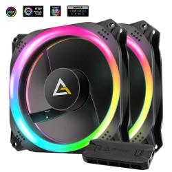 Antec Prizm 140 ARGB 140mm Addressable RGB Case Fan - 2 Pack with Controller Hub